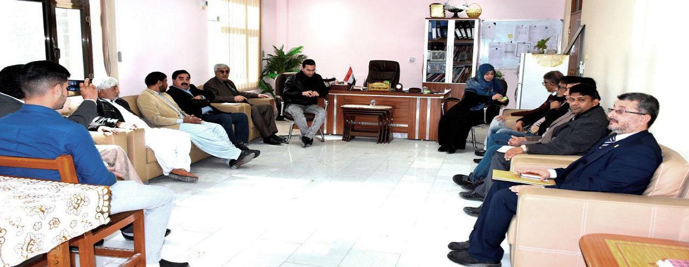 زيارة الوفد الاكاديمي من جامعة شاه عبد اللطيف الباكستانية الى كلية التربية للعلوم الصرفة